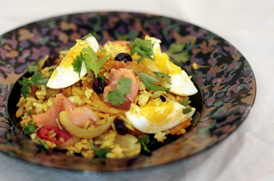 A la kedgeree: a rice dish with flaked fish, hard-boiled eggs and curry