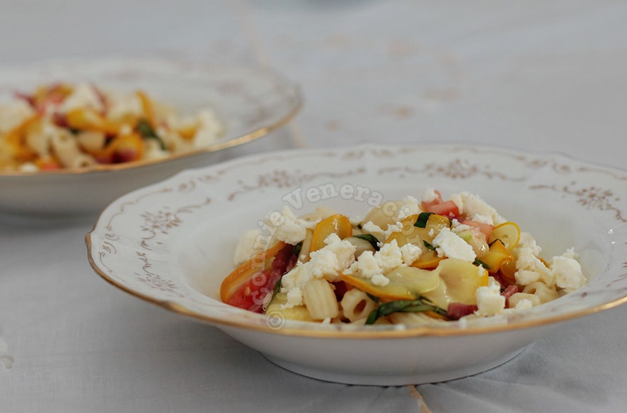 Warm Pasta, Salami and Golden Zucchini Salad | casaveneracion.com