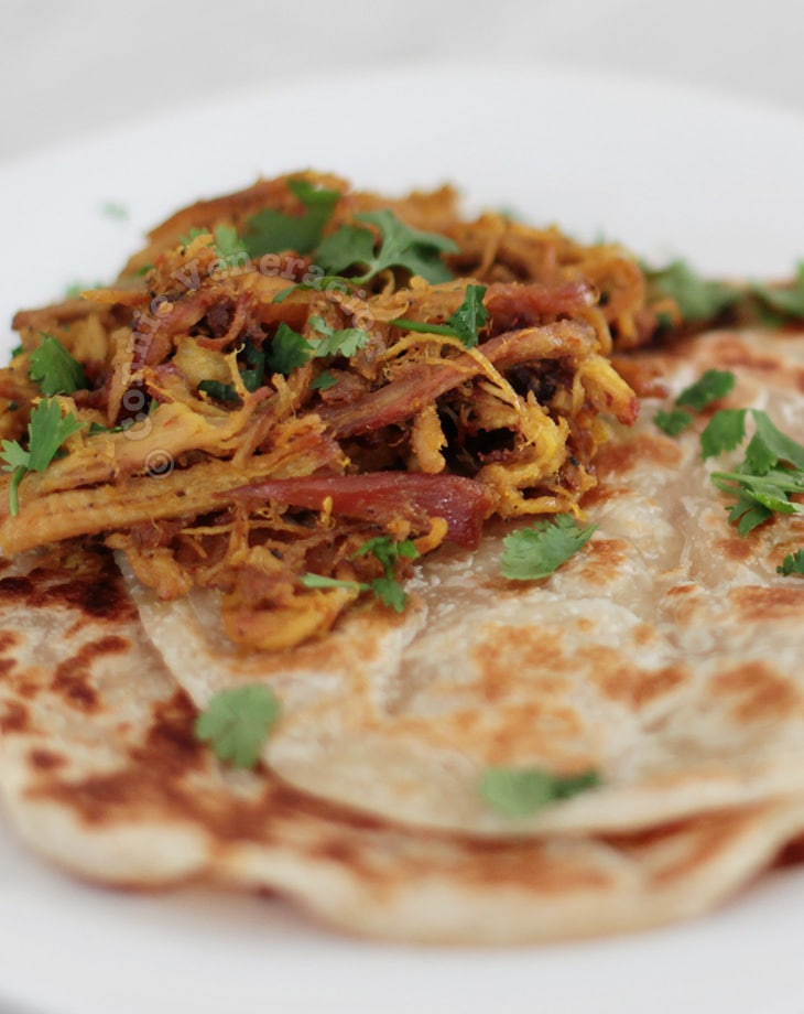 Pulled pork curry with paratha