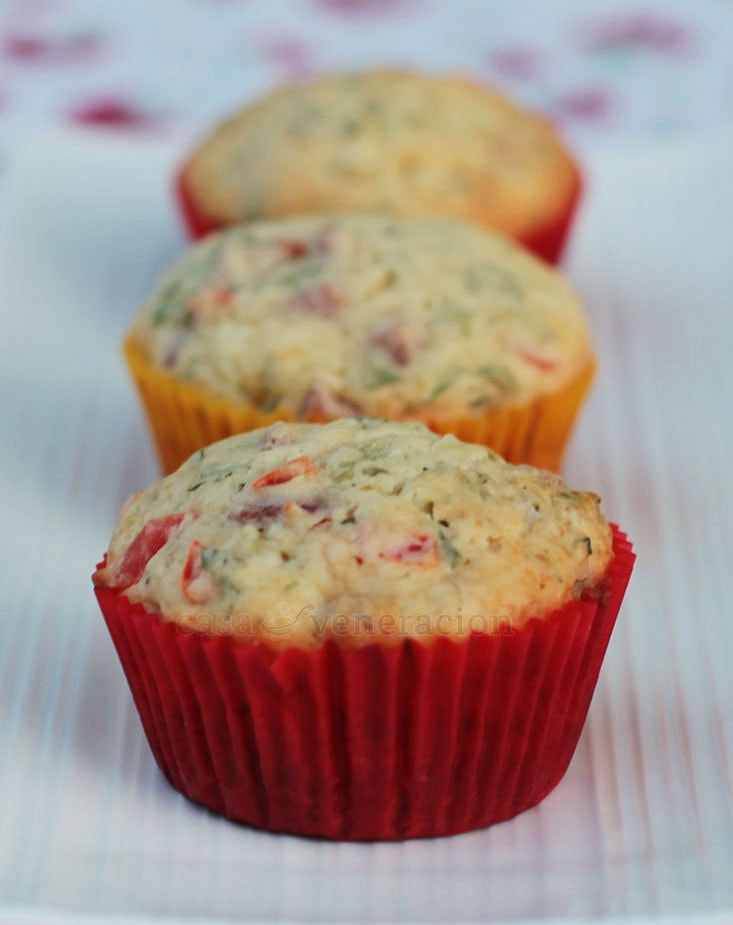 Savory muffins that wonderfully burst with the colors and aromas of salami bits, herbs and vegetables. Light, not dense. And not totally lacking in sweetness as most muffins tend to be. Really, really delicious.