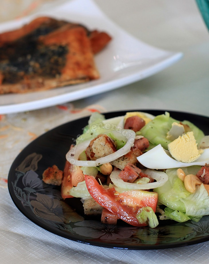 Speedy's lettuce, egg and cashew nut salad… with SPAM!