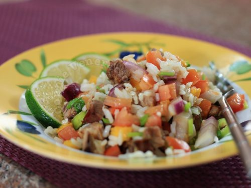 Asian-style spicy and tangy beef and rice salad