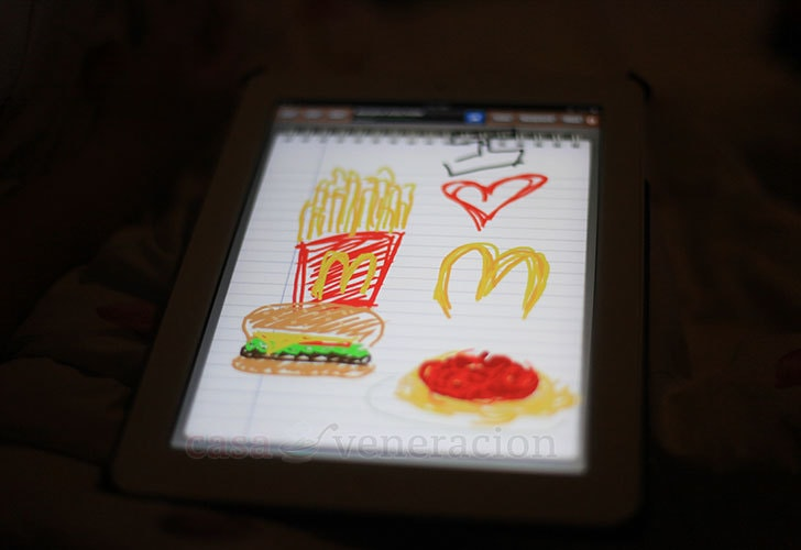 Freehand drawing on the iPad: Drawing McDonald's menu