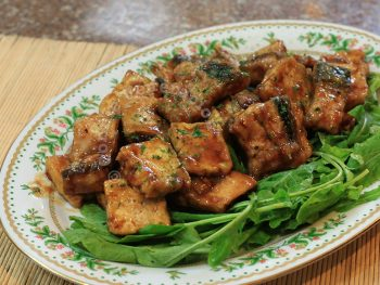 Tofu and bangus (milkfish) belly fillets with teriyaki sauce