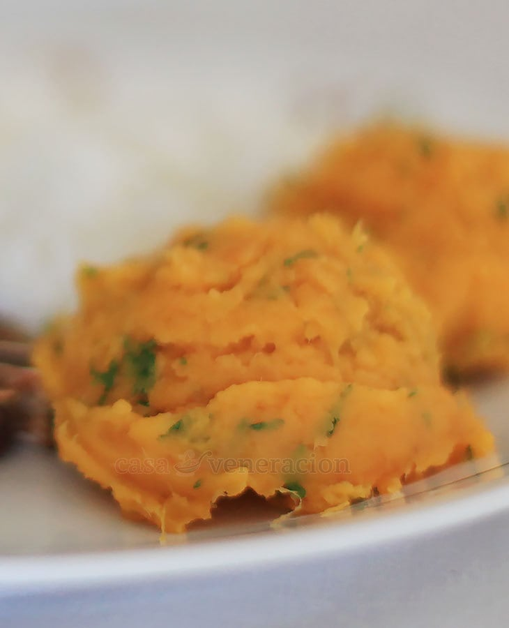 A classic accompaniment for traditional holiday dishes like roasted turkey and chicken, my mashed sweet potatoes contain lots of butter. So, so good!