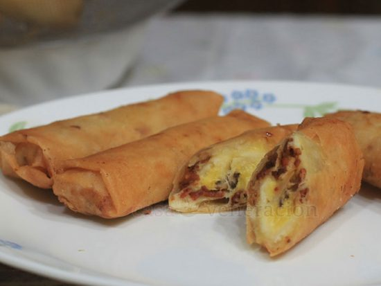Turon (banana spring rolls) with bacon and cheese