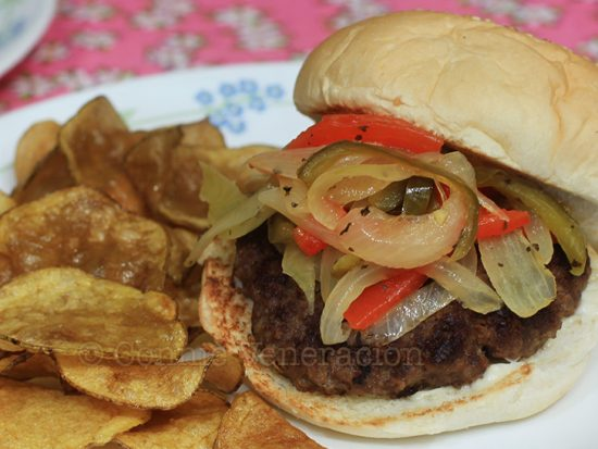 Burgers with pan-roasted onion and pepper relish