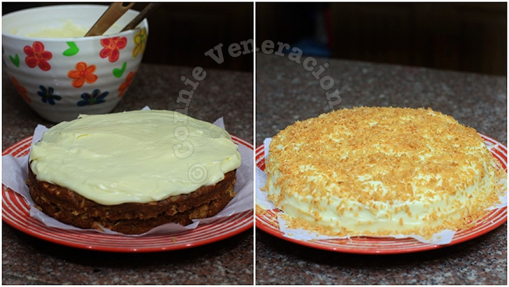 Carrot cake with cream cheese frosting and marmalade filling
