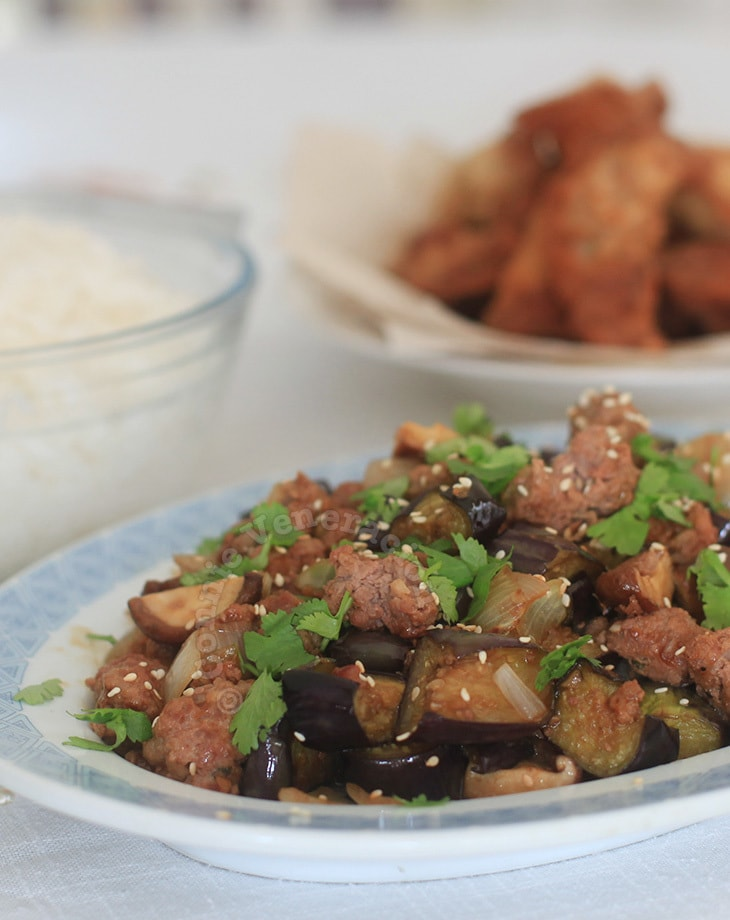 Pork, eggplant and shiitake stir fry
