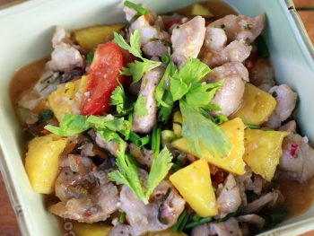 Vietnamese Stir Fried Pork Neck with Pineapple and Vegetables (Muc Xao Khom)