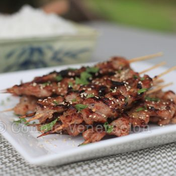 Grilled skewered pork marinated in lemongrass, honey and fish sauce