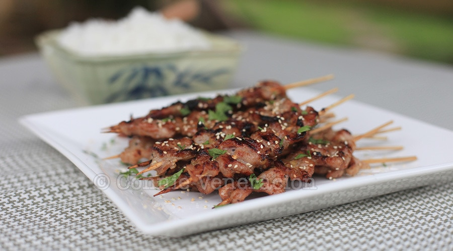 Grilled skewered pork marinated in lemongrass, honey and fish sauce | casaveneracion.com