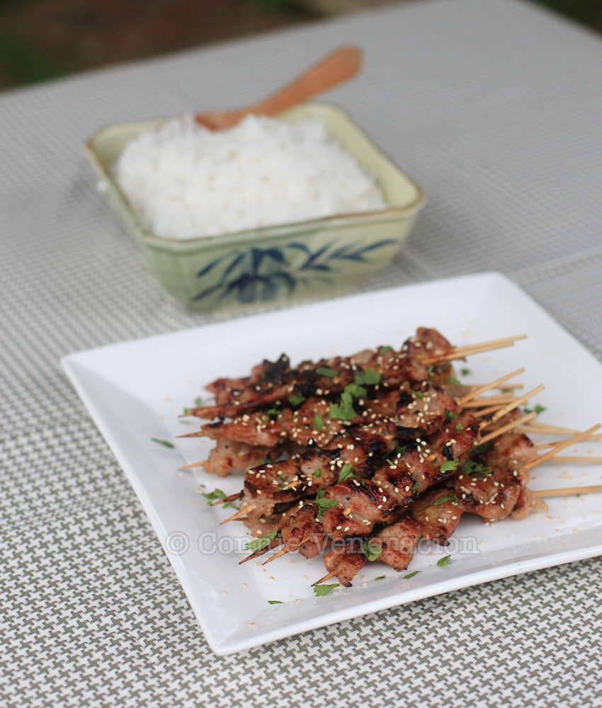 casaveneracion.com Grilled skewered pork marinated in lemongrass, honey and fish sauce (Vietnamese pork satay)