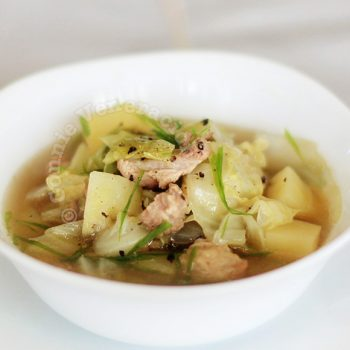 Boiled beef, cabbage and potato soup