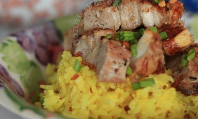 Spicy pandan-yogurt rice with crisp roast pork belly