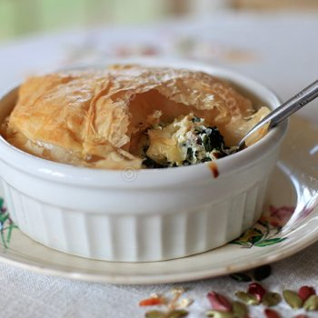 Spinach, bacon and cream cheese pot pie