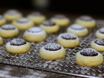 Chocolate-topped cream cheese cookies