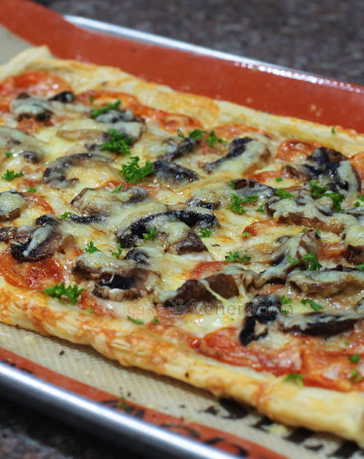 Puff Pastry Pizza With Mozzarella, Parmesan, Fresh Tomatoes and Mushrooms Recipe