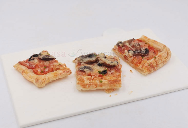 Puff Pastry Pizza With Mozzarella, Parmesan, Fresh Tomatoes and Mushrooms
