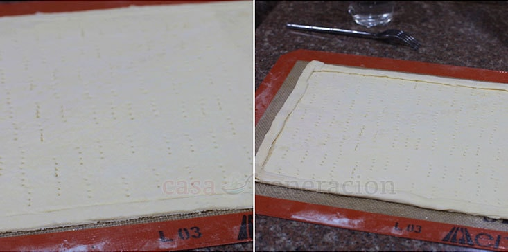 Puff Pastry Pizza Recipe, Step 3: Fold in the edges of the puff pastry to create ridges