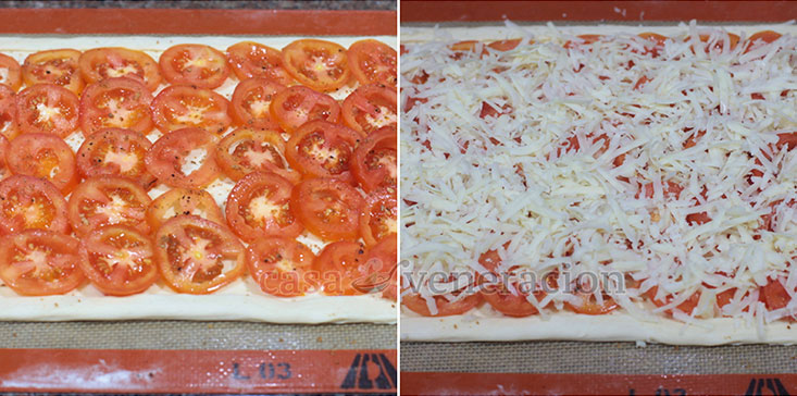 Puff Pastry Pizza Recipe, Step 4: Cover the puff pastry with tomato slices, sprinkle with herb salt then smother with mozzarella