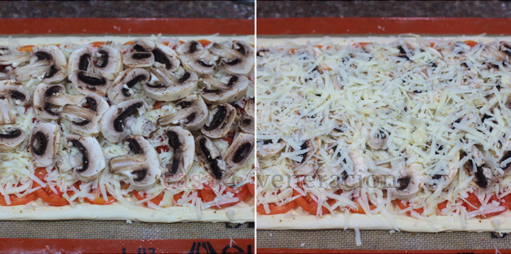 Puff Pastry Pizza Recipe, Step 5: Scatter mushroom slices over the cheese, season and pile on the Parmesan