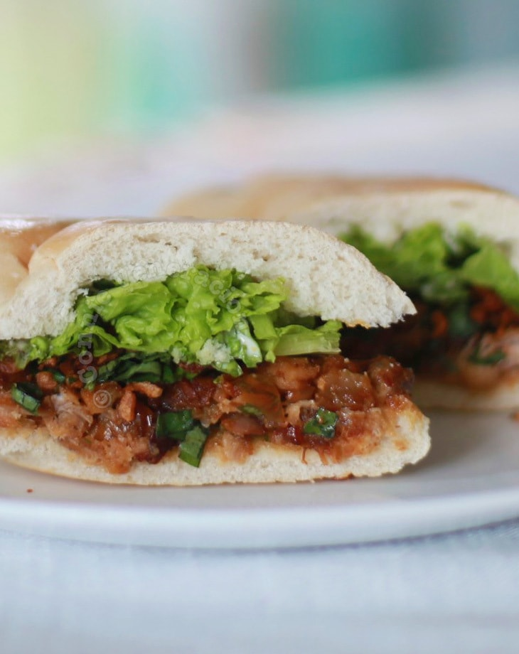 Spicy baked pork sandwich