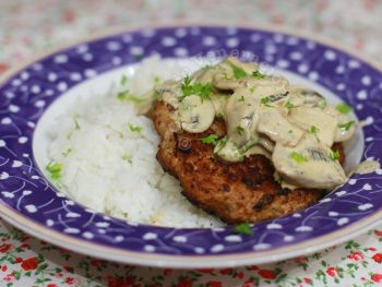 Pork Burger Steaks With Creamy Mushroom Sauce