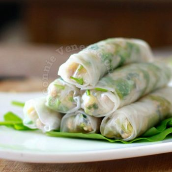 Sweet and tangy pork, water spinach (kangkong) and pineapple spring rolls