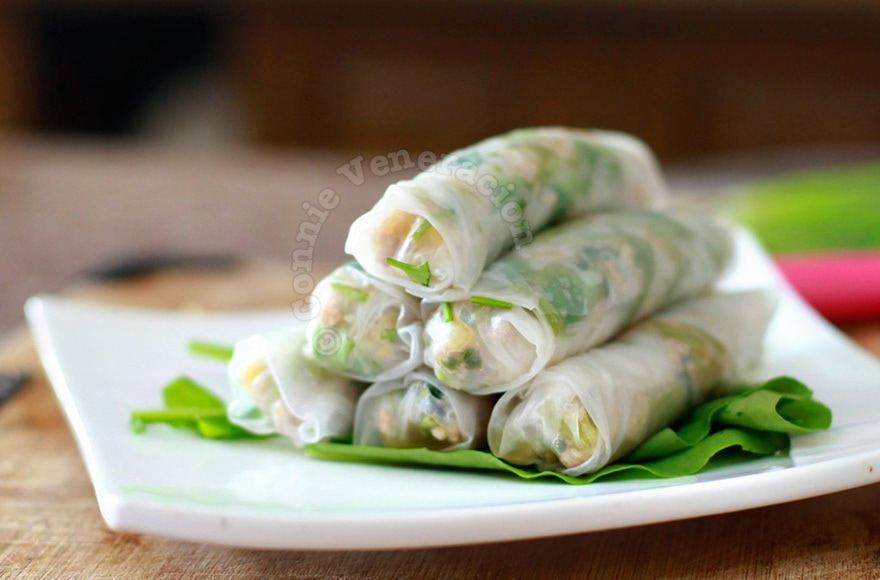Sweet and tangy pork, water spinach (kangkong) and pineapple spring rolls | casaveneracion.com