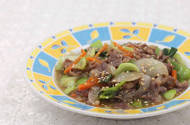 Sukiyaki cut beef is marinated then stir fried with vegetables. This beef and bok choy stir fry is cooked and flavored Chinese style. Prep time is 10 minutes. Cook time is 10 minutes.