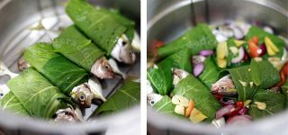 Salay ginto (yellowstripe scad) wrapped in pechay leaves