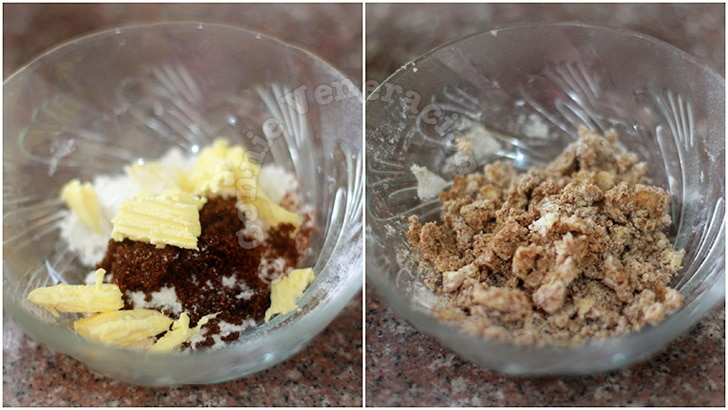 Microwave banana and nut cake with streusel topping