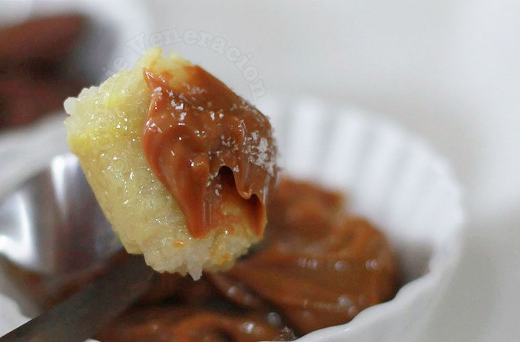 Suman (rice cake) with three dips: dulce de leche, Nutella and fruit jam
