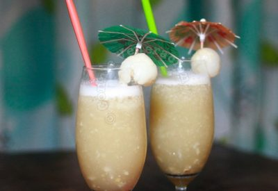 Sam's rum, lychee and lemon cocktail