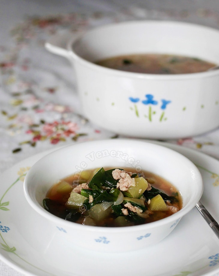 Miso, chayote and spinach soup