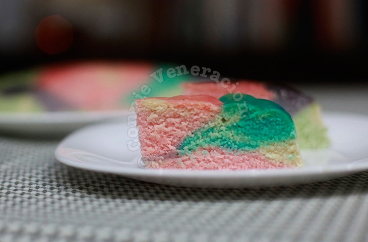 Tie-dye steamed cake a.k.a. rainbow-colored puto
