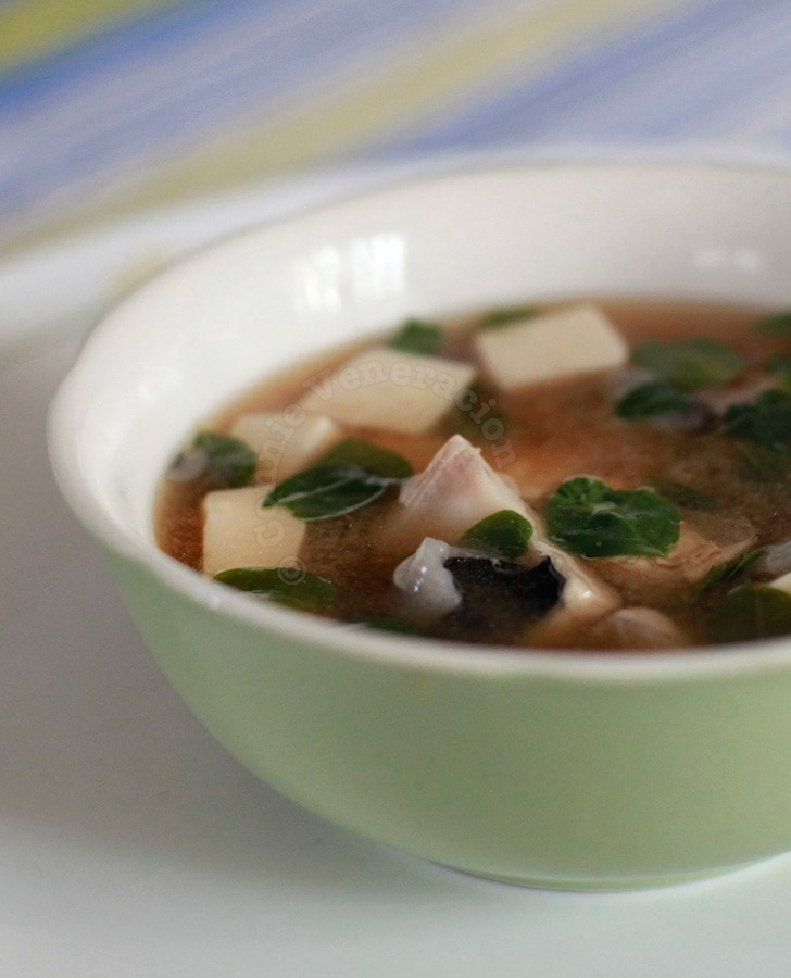 Miso soup with bangus (milkfish) fillets and malunggay leaves