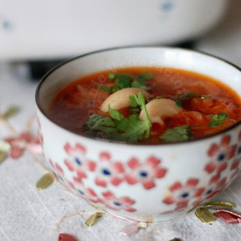 Sausage, pasta, tomato and cabbage soup