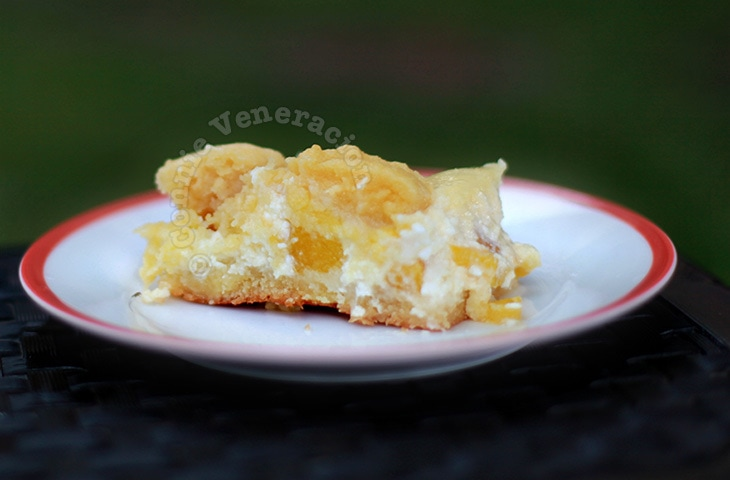 Peaches and cream cheese cookie bars