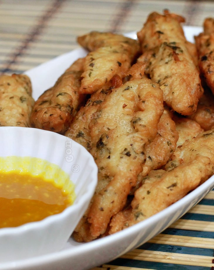 Fish fingers with honey-mustard sauce
