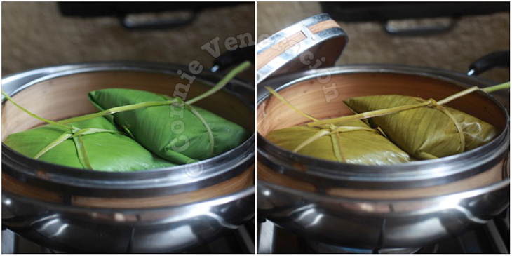 Steamed sticky rice and pork wrapped in banana leaves