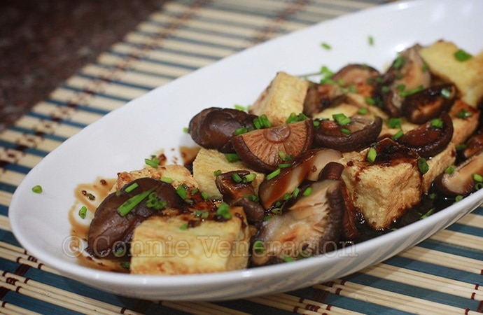 Tofu and mushrooms teriyaki