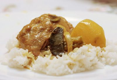 Indian-style curry has yogurt, Thai-style curry has coconut milk or cream, and that inclusion of potatoes is a European modification. Curried dishes can be quite dry or saucy and the color of the stew varies depending on the kind of curry paste used — yellow, red or green.