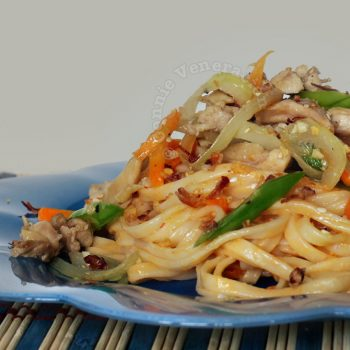 Asian-style noodles with spicy peanut sauce