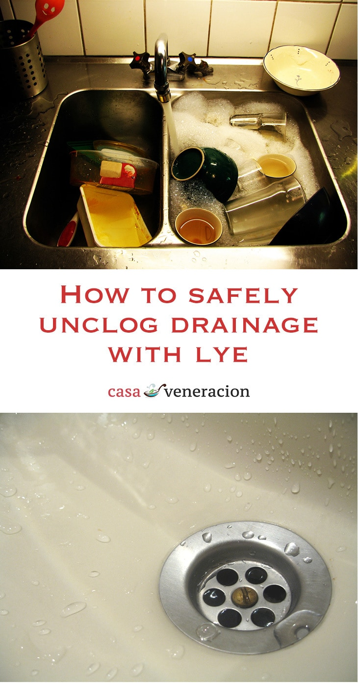 No matter how careful we are, the drainage of the kitchen sink occasionally gets clogged. Here's how to safely unclog drainage with lye. | casaveneracion.com