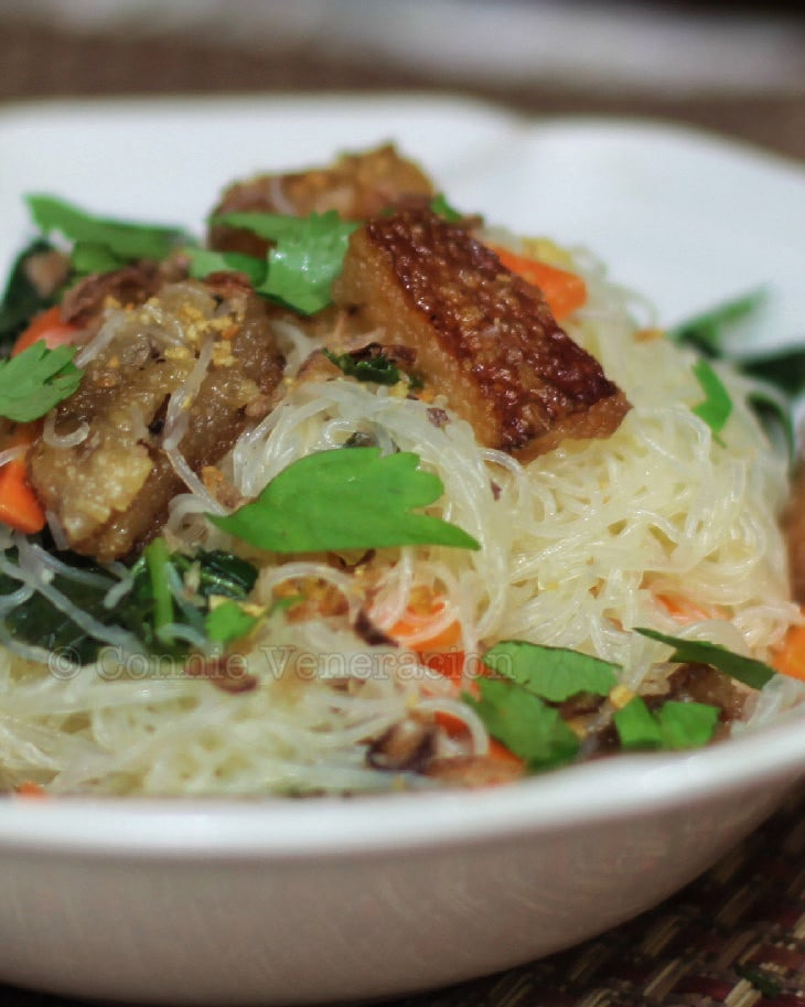 Stir Fried Rice Sticks With Pork Cracklings and Chinese Broccoli