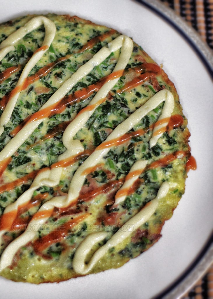 Spinach, bacon and cheese frittata
