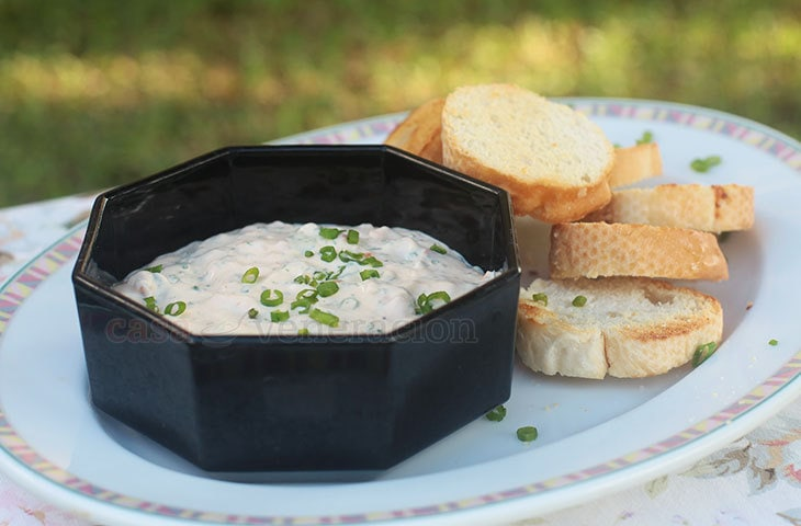 For stress-free entertaining, prepare the cheese dip ahead of time, keep in the fridge and allow to warm to room temperature about fifteen minutes then stir before serving.