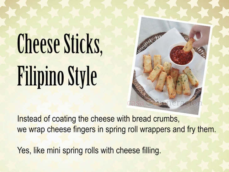 12 Days of Christmas Appetizers and Finger Food: Cheese Sticks, Filipino Style